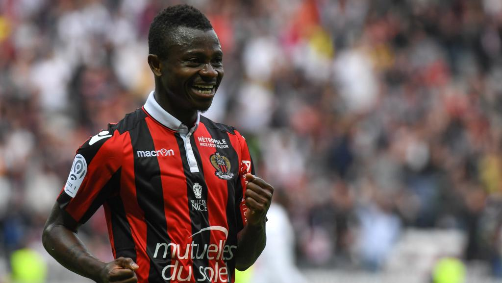 Jean Michaël Seri après un but face à Nancy, le 15 avril 2017. Yann COATSALIOU / AFP