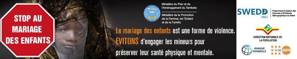 Bannière SWED Stop mariage des enfants